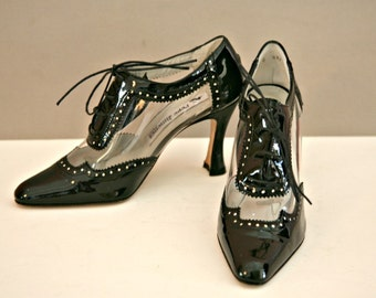 Black and Clear Patent Leather Transparent High Heel Lace Tie Shoes Size 6