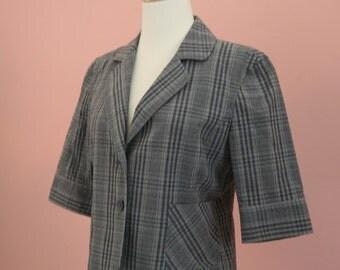 3/4 Sleeve Poplin Jacket, Sheersucker Blazer, Crop Blazer, Striped Jacket, Summer Blazer, 80's Attire, Cotton Blazer, Sporty Jacket