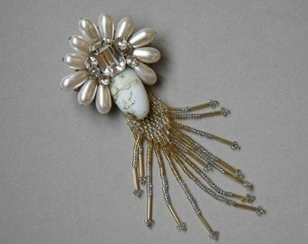 Crystal and Beaded Brooch Circa 1950, White Brooch, Dangling Brooch, Beaded Brooch, Big and Bold, Crystal and White