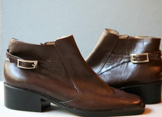 Vaneli Italian Chocolate Leather Boots Size 6.5