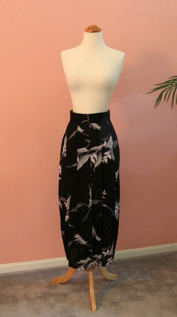 Floral Print Skirt, Black Skirt, Long Skirt, Mid-Calf Skirt, Buttoned Up Skirt, Flowered Skirt, Size 6. Summer Skirt