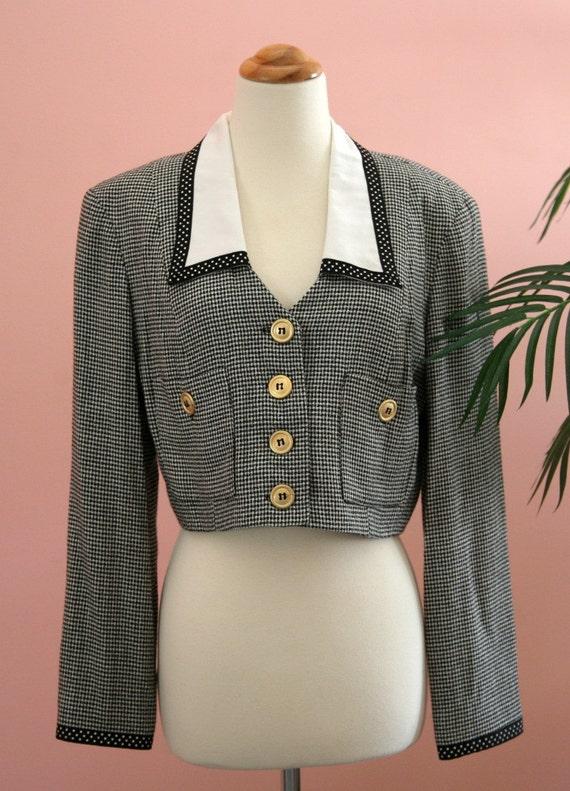 Sandra Ow-wing Vintage Cropped Blazer, Checkered Blazer, Black and White Blazer, Short Blazer, Cropped Blazer, Size 8 Jacket