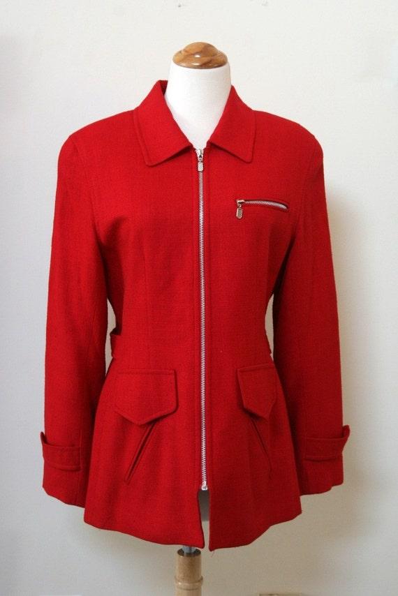 Red Vintage Zippered Blazer