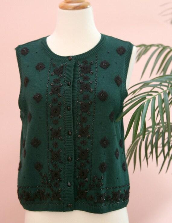 Fern Green Sweater Vest, Beaded Vest, Green Vest, Merino Wool Vest, Size Medium, Button Down Vest, Dressy Knit Vest, Knit Vest