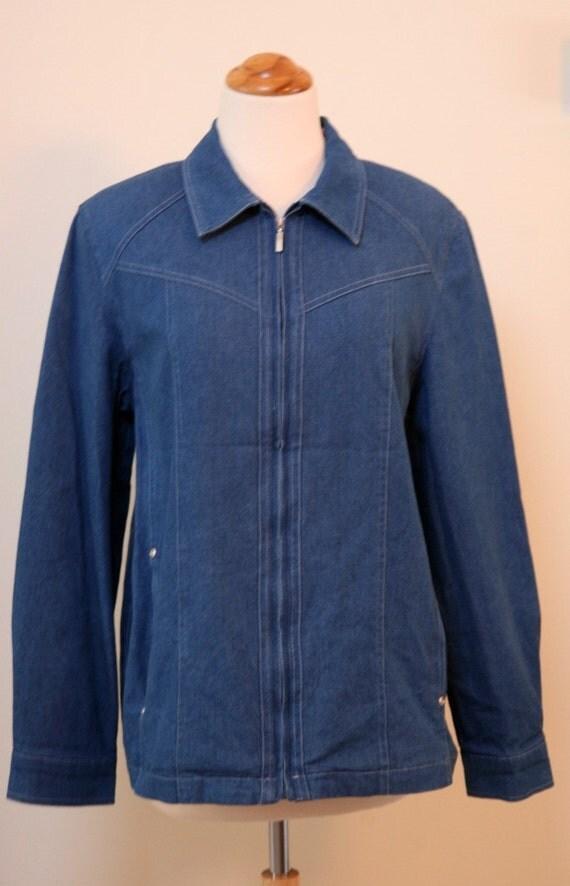 Faded DENIM Vintage Zip Jacket,Floral Lining, Denim Outerwear,Ladies Jacket, Size 8
