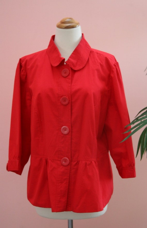 15 DOLLAR SALE - XL Fully Lined Red Cotton  Coat