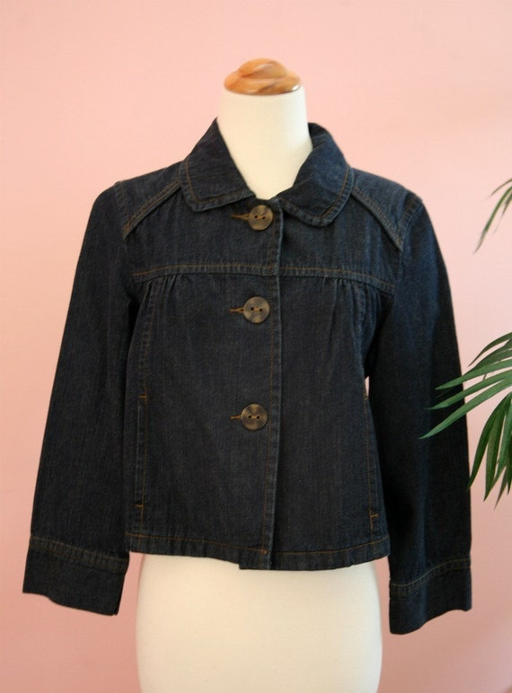 15 DOLLAR SALE - Denim Short Cropped Swing Jacket