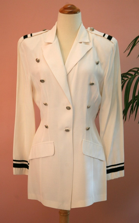 RESERVED - Long White Nautical Style Double Breasted Blazer