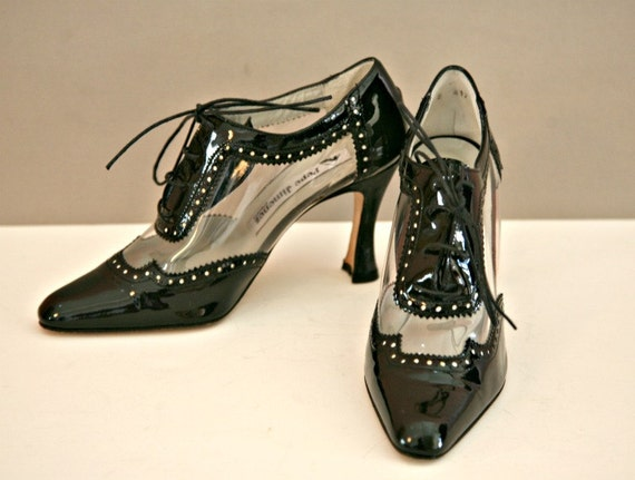 RESERVED Black and Clear Patent Leather Transparent High Heel Lace Tie Shoes Size 6