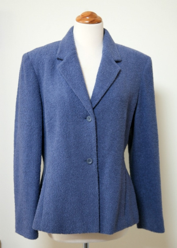 Wedgewood Blue Wool Boucle Fully Lined Blazer