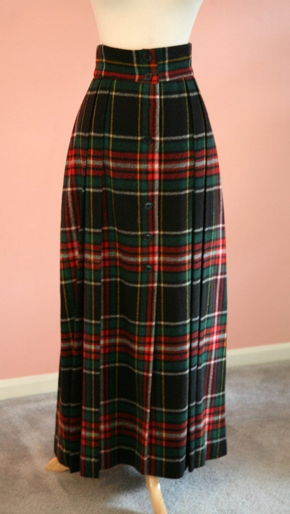 Ankle Length Pleated Tartan Plaid Wool Blended Skirt