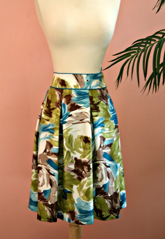 Floral Skirt, Tropical Floral Skirt, Silk Skirt, Talbots, Size 6 Petite, Petite Skirt, Turquoise Blue and Green