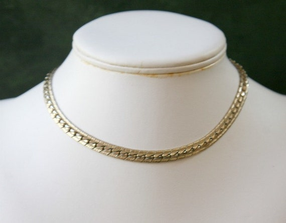14 Inch Gold Plated Fancy Choker Style Vintage Necklace