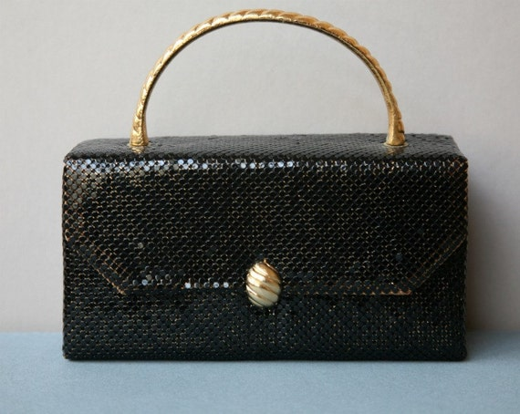 Small Black Mesh Evening Bag with Gold Toned Handle and Clasp