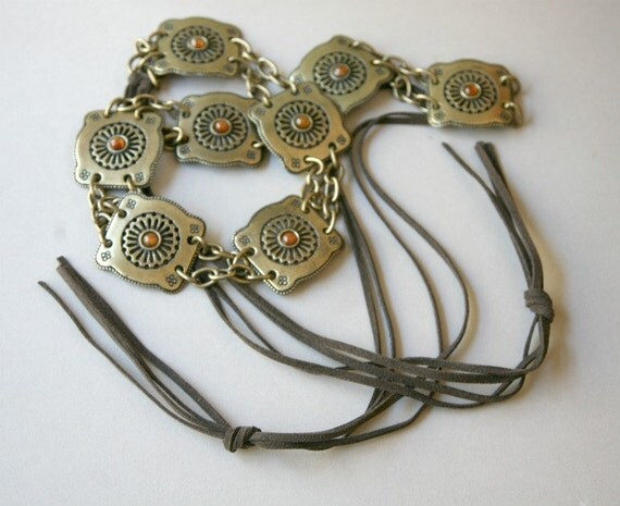 Antiqued Brass Link Hippie Style Belt with Suede Fringe