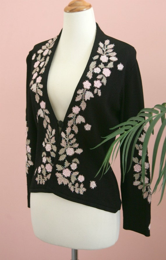 Woman's Black Sweater, Floral Sweater, Pink and Tan Flowers, Sequined Sweater, Embroidered Flowers, Size Small, Ladies Sweater,