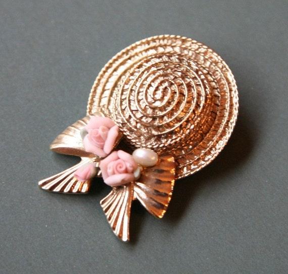 Hat Brooch, Straw Hat Shaped Brooch, 1980 Jewelry,Gold Brooch