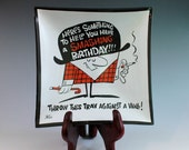 Mod Graphic Funny Vintage Birthday Smoke Glass Tray