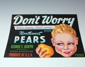 moving sale. Vintage Pear Crate Label Excellent graphics