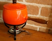 Vintage Red Orange Enamel Wear Fondu Pot 1970s Classic PRICE REDUCED 50 PERCENT