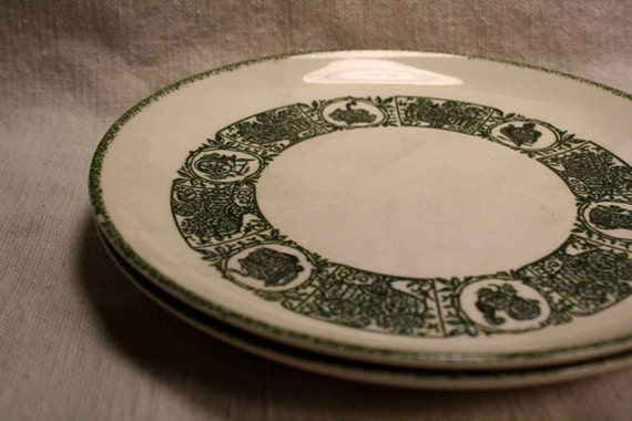 2 Vintage MidCentury Heritage China Country Store Pattern in Forest Green Made in USA B&B Plates SALE Price Reduced 20 Percent