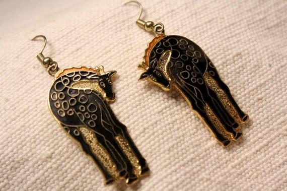Giraffe Earrings Pierced Dangle Vintage PRICE REDUCED 20 PERCENT