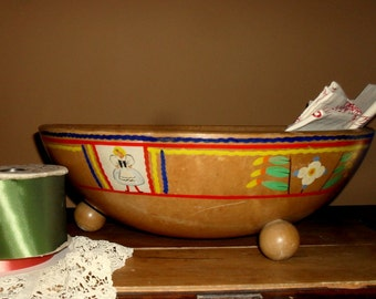 Extra Large Painted Wooden Footed Bowl