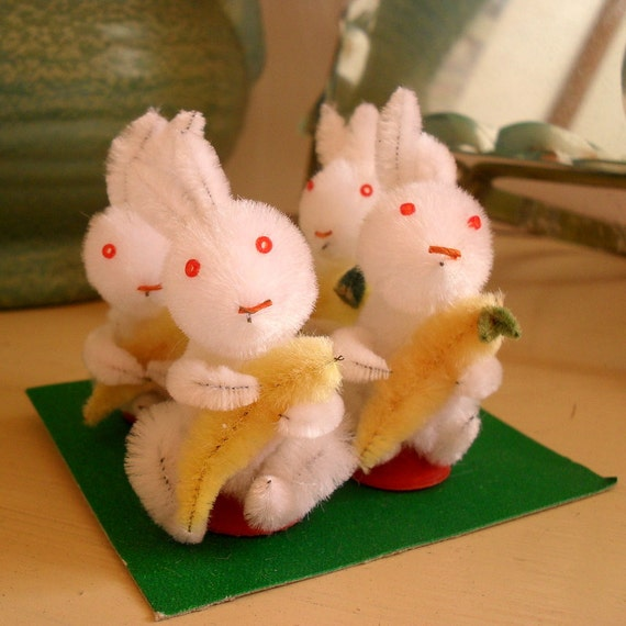 box of 4 chenille easter bunnies