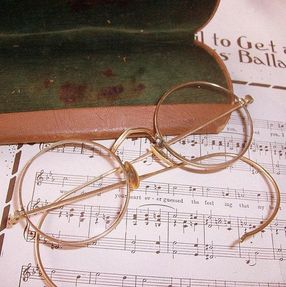 Wire Frame Glasses Vintage : Antique Wire Frame Glasses with case