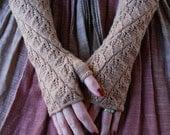 Knitting pattern PDF Spiraling Leaves Fingerless Gloves pattern