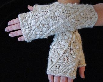 """Knitting Pattern PDF Fingerless Gloves """"Fern Spiral"""""""