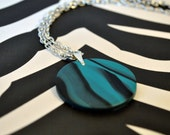 Turquoise and Black Circle Polymer Clay Necklace