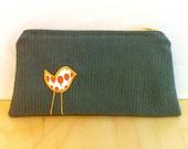 Birdie Cosmetic Bag, Orange and Grey