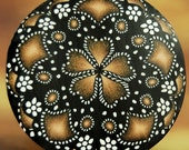 Black, White, and Gold Circle Kaleidoscope Polymer Clay Cane