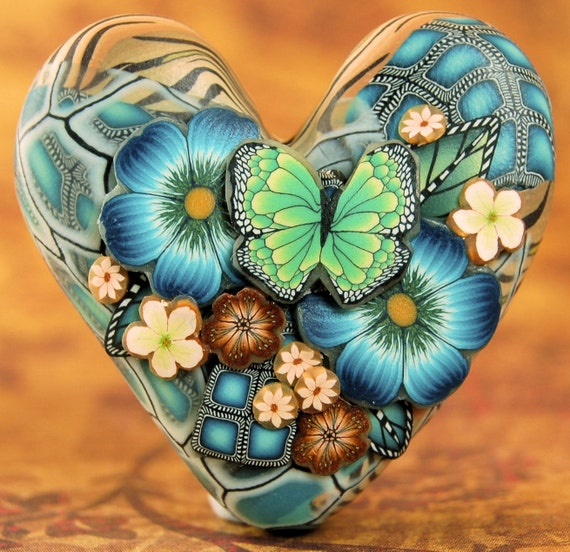 Polymer Clay Dimensional Heart Focal Bead