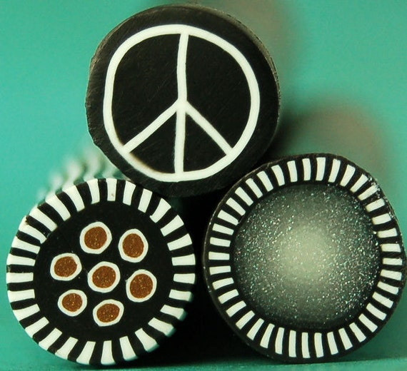 "HALF PRICE SALE Set of 3 Polymer Clay Mini Canes - ""Peace Sign, Silver, Gold Dots"""