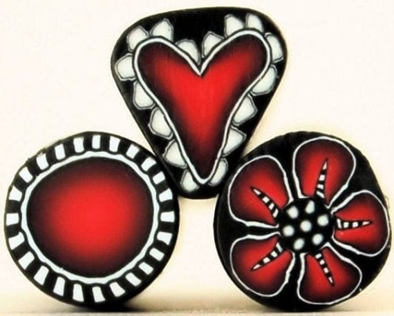 REDS: Heart, Flower, and Circle Polymer Clay Mini Canes