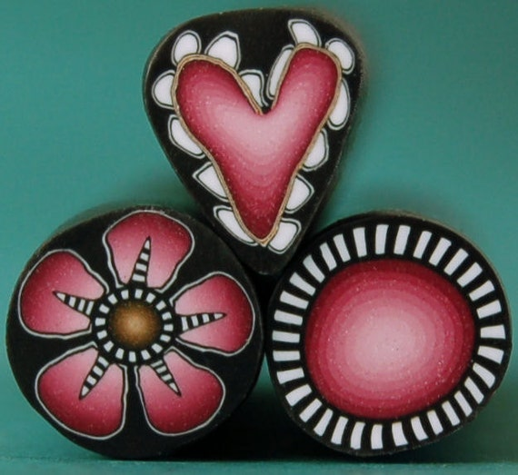 HALF PRICE SALE Deep Pink: Heart, Flower, and Circle Polymer Clay Mini Canes