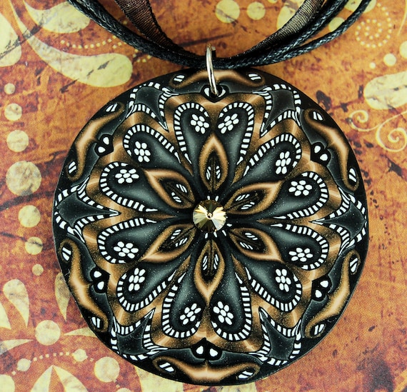 Black, White, and Bronze Large Polymer Clay Kaleidoscope Necklace