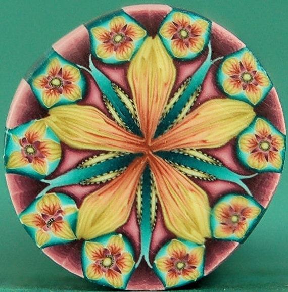 Soft Yellow, Red-Orange, Teal, and Purple Polymer Clay Kaleidoscope Flower Cane