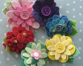 Felt Flower Hair Clip - Pure Colors - You Choose Two by PrettyinPosies on Etsy