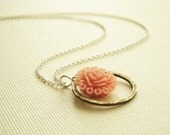 Peachy pink ruffle rose flower cabochon necklace and textured antiqued brass ring