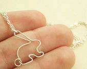 Easter bunny rabbit necklace in sterling silver - sweet and simple jewelry