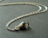 Black rutilated quartz heart briolette necklace in sterling silver