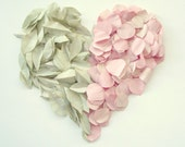 Recycled paper rose petals and leaves - Eco friendly wedding table decor - Romantic pink petals and moss green leaves
