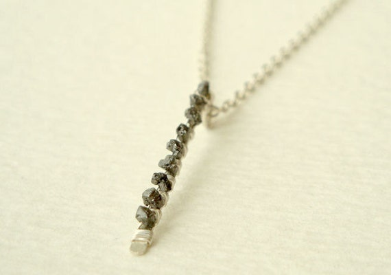 Rough black diamond wire wrapped stick pendant necklace in sterling silver - raw black diamond bar minimalist jewelry - April birthstone
