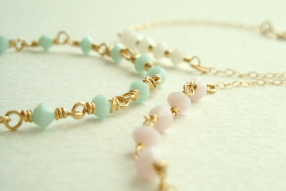 Set of three 14k gold filled and Swarovski crystal bracelets - Thin, simple, and delicate in mint green, pastel pink, and white