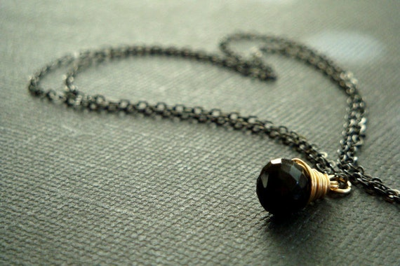 Midnight - Black spinel and 14k gold filled wire necklace on a black oxidized sterling silver chain - minimal jewelry