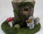 Reserved for AMY-Tree Stump Needle Felted Play Mat-Squirrel's Home