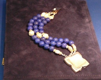 Lapis and Mother of Pearl 3-Strand Bracelet